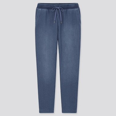Women Pile-Lined Denim Jersey Pants, Blue, Medium
