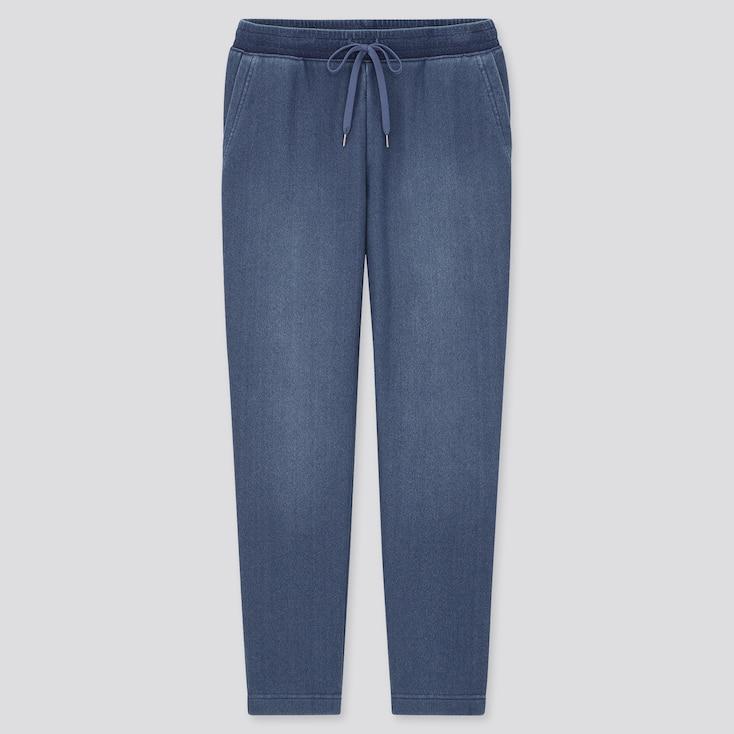 Women Pile-Lined Denim Jersey Pants, Blue, Large