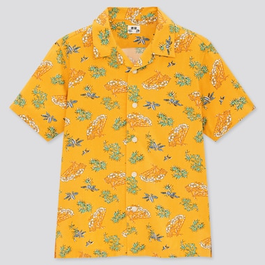 Kids Engimono Open Collar Short-Sleeve Shirt, Yellow, Medium