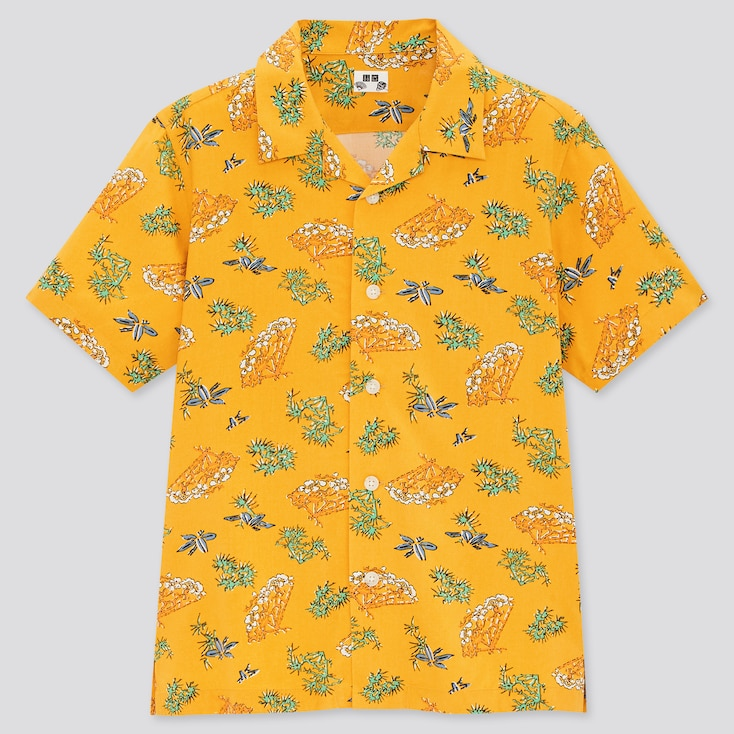 Kids Engimono Open Collar Short-Sleeve Shirt, Yellow, Large