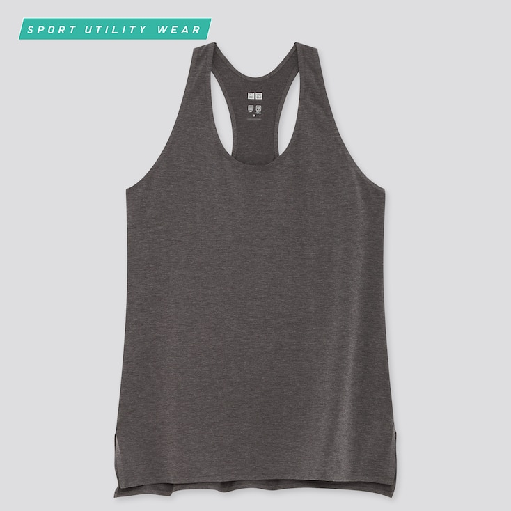 Women Airism Seamless Tank Top, Dark Gray, Large