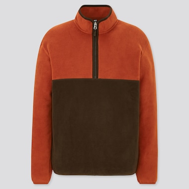 Men Fleece Colour Block Half-Zipped Pullover