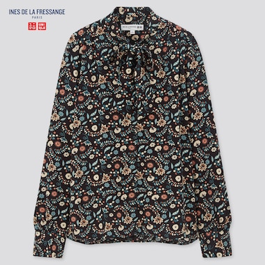 Women Ines Rayon Bow Tie Long Sleeved Blouse