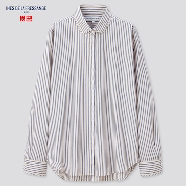 Women Cotton Twill Striped Long-Sleeve Shirt (Ines De La Fressange), Blue, Medium