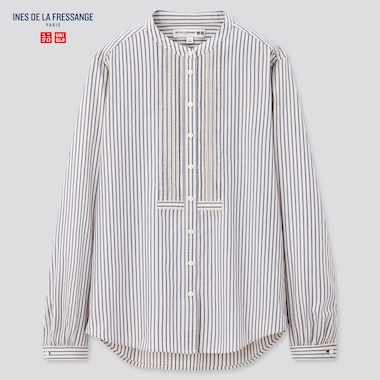 Women Ines Cotton Twill Pintuck Striped Long Sleeved Shirt