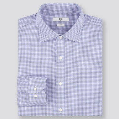 Men Easy Care Stretch Slim Fit Checked Shirt (Semi-Cutaway Collar)