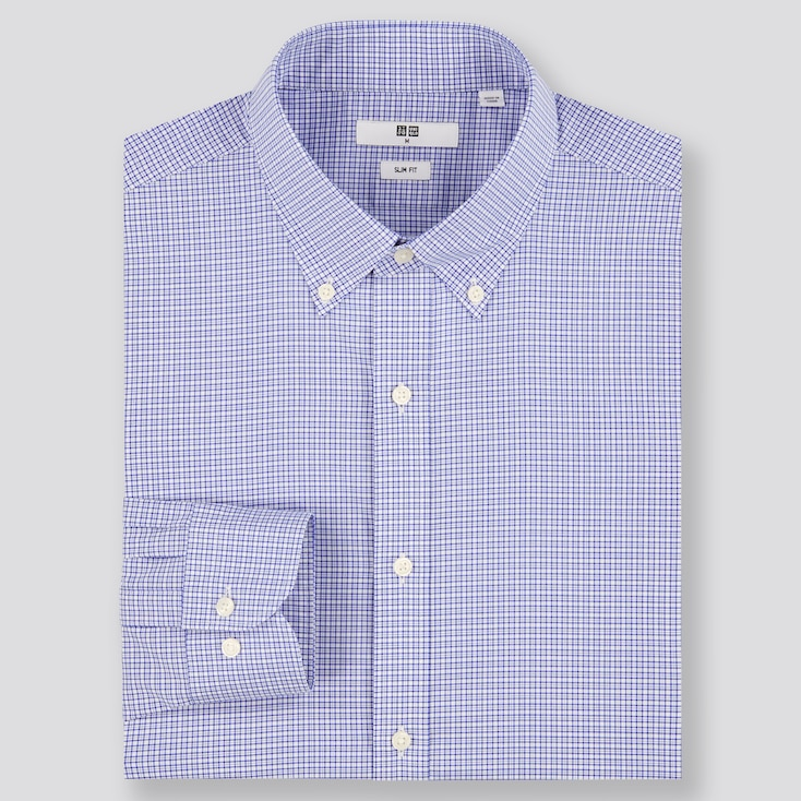 MEN EASY CARE CHECKED STRETCH SLIM-FIT LONG-SLEEVE SHIRT