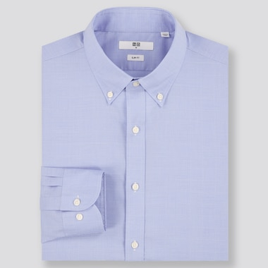 Men Easy Care Checked Stretch Slim-Fit Long-Sleeve Shirt, Blue, Medium