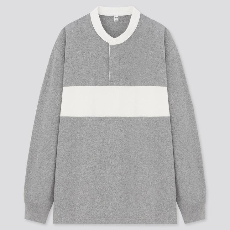 Men Stand Collar Long-Sleeve T-Shirt, Gray, Large