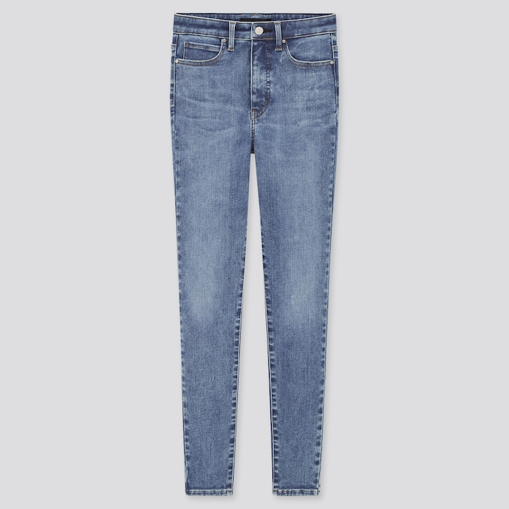 Women Ultra Stretch High-Rise Ankle Jeans, Blue, Large