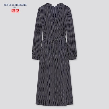 Women Silk Printed Wrap Dress (Ines De La Fressange), Navy, Medium