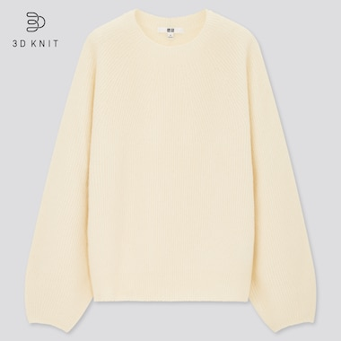 Women 3D Knit Lambswool Blend Crew Neck Volume Jumper