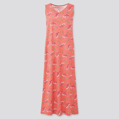 Women Engimono Sleeveless Long Dress, Pink, Medium
