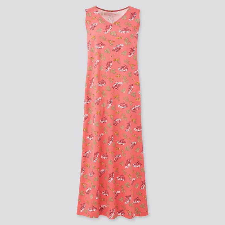 Women Engimono Sleeveless Long Dress, Pink, Large