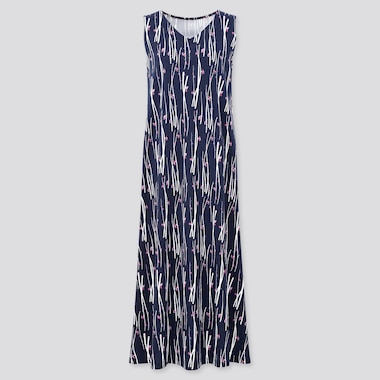 Women Engimono Sleeveless Long Dress, Navy, Medium