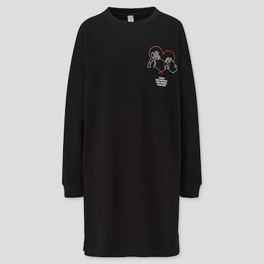 Women Disney Furry Friends Sweat Long-Sleeve Dress, Black, Medium