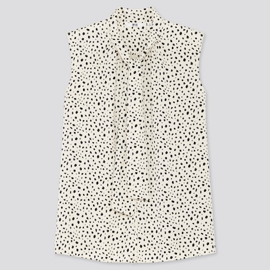 Women Printed Bow Tie Sleeveless Blouse, Off White, Medium