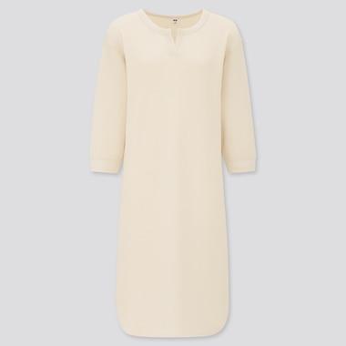 Women Waffle Key Neck 3/4 Sleeved Dress