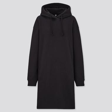 Women Sweat Hoodie Long-Sleeve Dress, Black, Medium