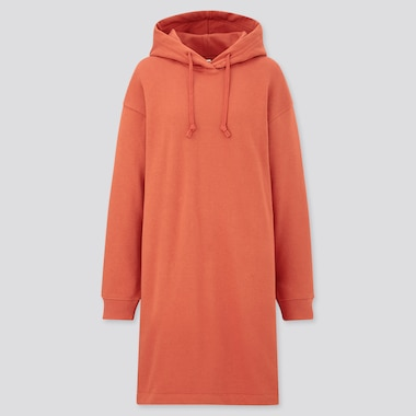 Women Sweat Hoodie Long-Sleeve Dress, Orange, Medium