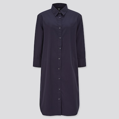 WOMEN Extra Fine Cotton 3/4 Sleeved Shirt Dress