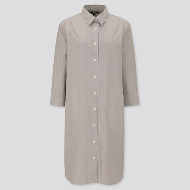 Women Extra Fine Cotton 3/4 Sleeve Shirt Dress, Brown, Medium