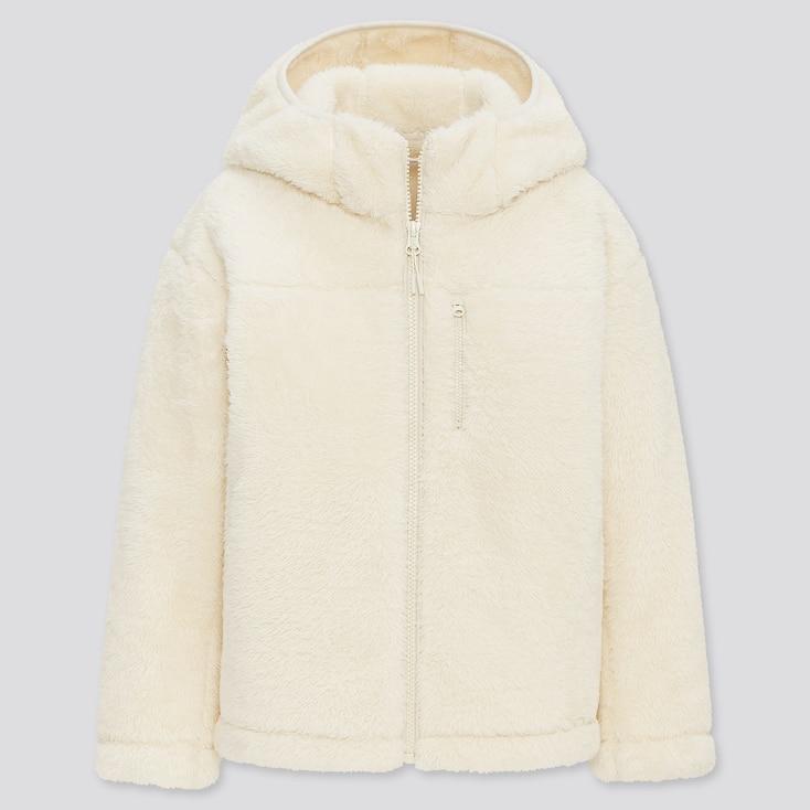 Kids Windproof Fleece Long-Sleeve Full-Zip Hoodie, Off White, Large