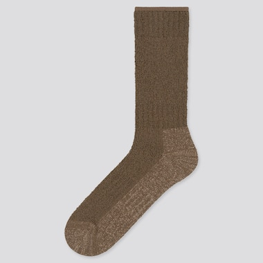 Men Heattech Pile Plating Socks (Online Exclusive), Dark Brown, Medium