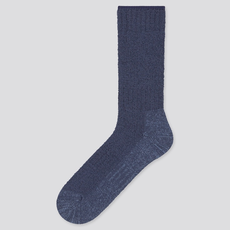 Men Heattech Pile Plating Socks (Online Exclusive), Blue, Large