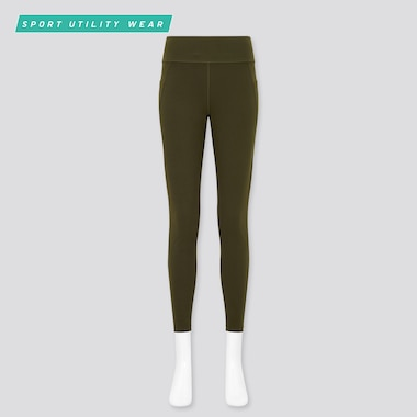 Women Airism Soft Leggings (With Pockets), Dark Green, Medium