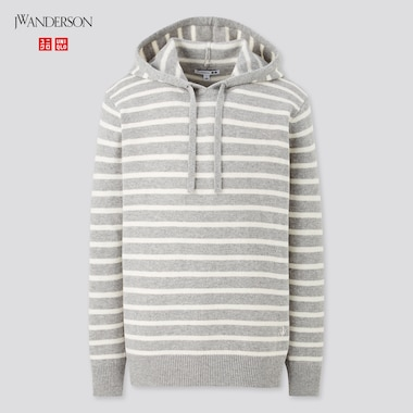 Men Wool-Blend Long-Sleeve Pullover Hoodie (Jw Anderson), Gray, Medium