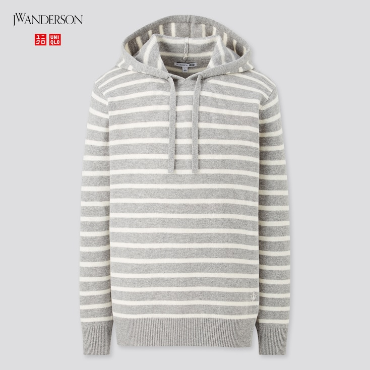 Men Wool-Blend Long-Sleeve Pullover Hoodie (Jw Anderson), Gray, Large