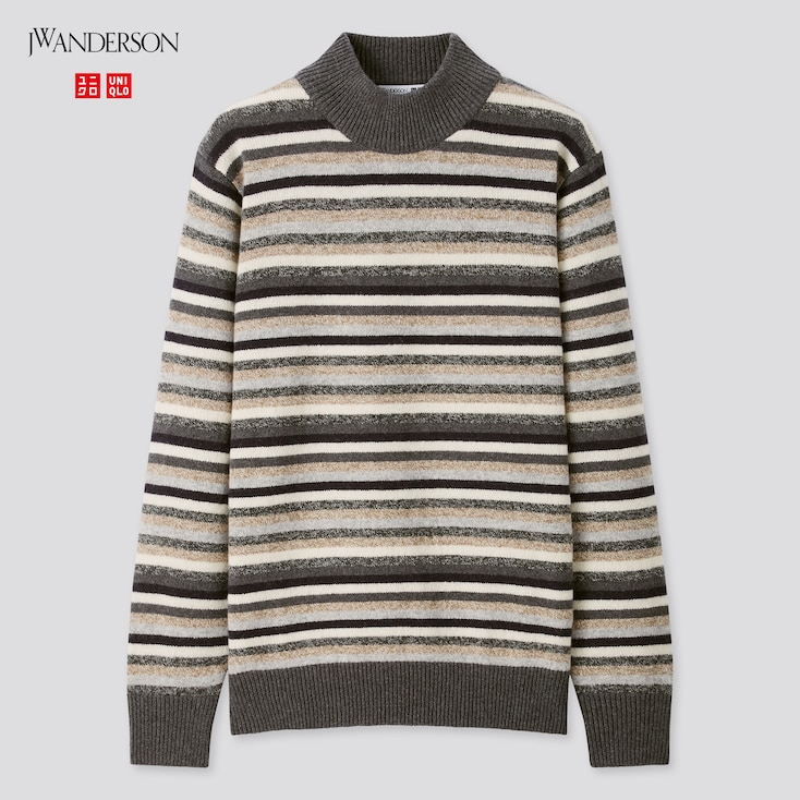 Men Premium Lambswool Mock Neck Long-Sleeve Sweater (Jw Anderson), Gray, Large