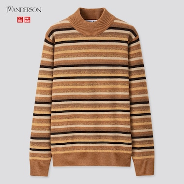 Men JW ANDERSON Premium Lambswool Striped Mock Neck Jumper