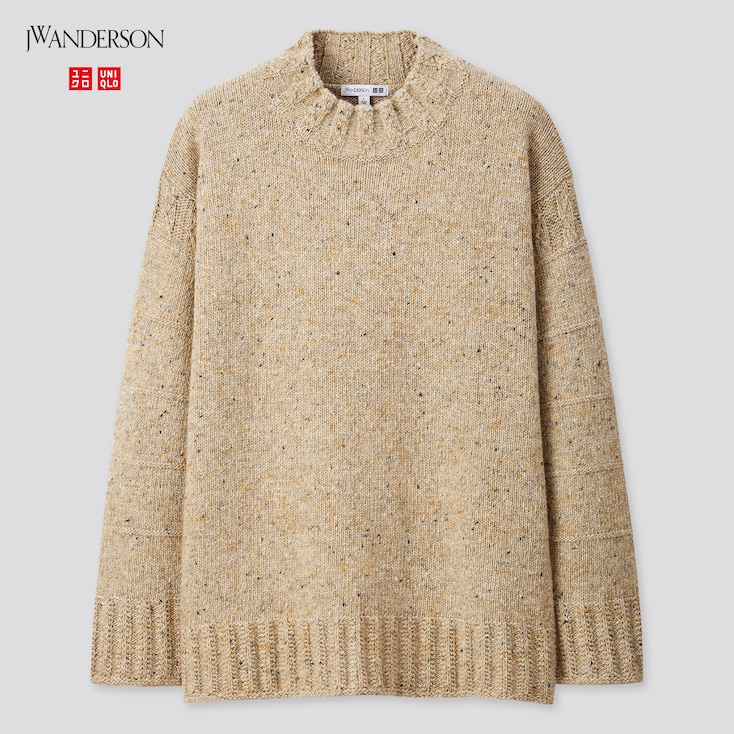 Men Low-Gauge Crew Neck Long-Sleeve Sweater (Jw Anderson), Natural, Large