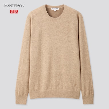Men Cashmere Crew Neck Long-Sleeve Sweater (Jw Anderson), Beige, Medium