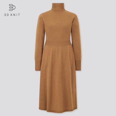 Women 3D Knit 100% Extra Fine Merino Wool Flared Dress