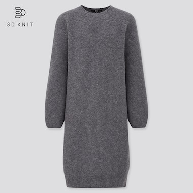 Women 3D Knit Lambswool Blend Balloon Sleeved Dress