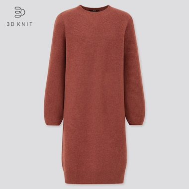 Women 3D Knit Seamless Lambswool Blend Balloon Sleeved Dress