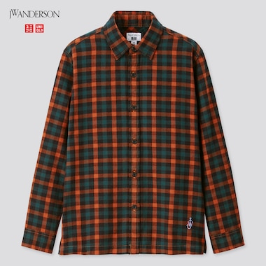 Kids Flannel Checked Long-Sleeve Shirt (Jw Anderson), Orange, Medium