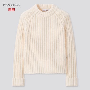 Girls Crew Neck Long-Sleeve Sweater (Jw Anderson), Off White, Medium