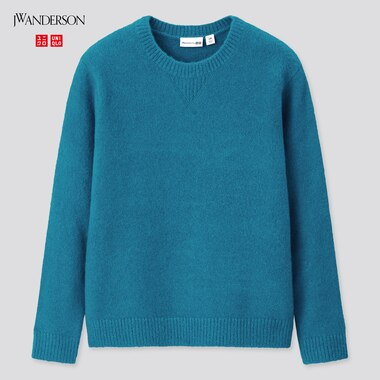 Kids Souffle Yarn Crew Neck Sweater (Jw Anderson), Blue, Medium