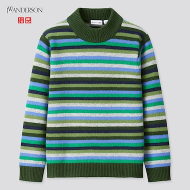 Kids Premium Lambswool Mock Neck Long-Sleeve Sweater (Jw Anderson), Green, Medium