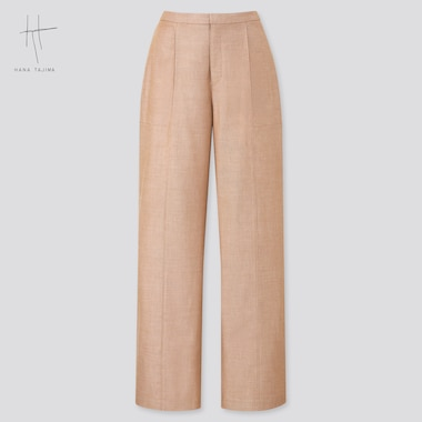 Women Wide Straight Pants (Hana Tajima), Beige, Medium