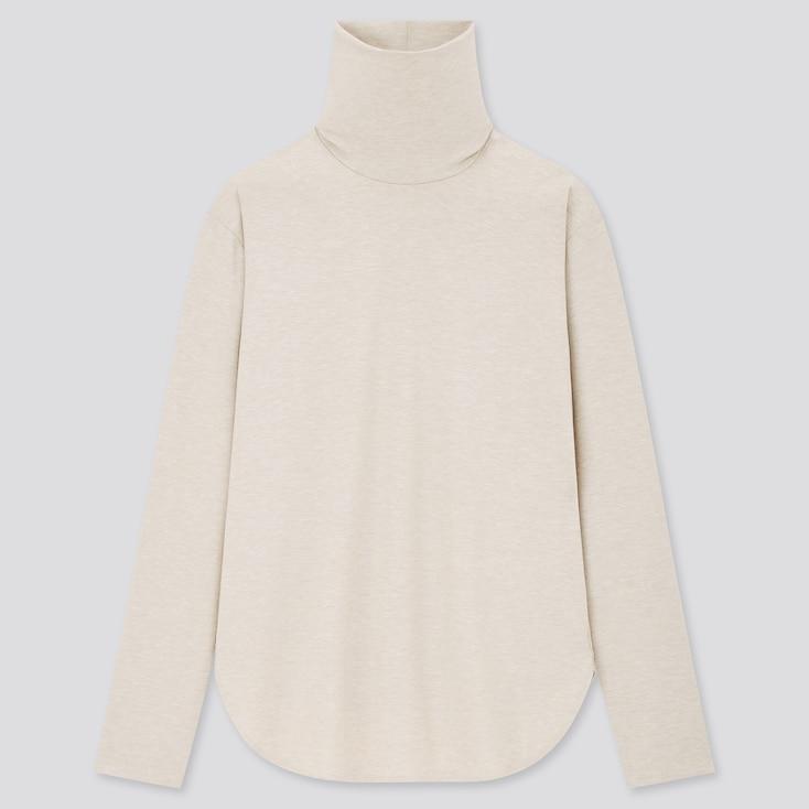Women Airism Seamless Turtleneck Long T-Shirt (Online Exclusive), Light Gray, Large
