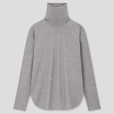 Women Airism Seamless Turtleneck Long T-Shirt (Online Exclusive), Gray, Medium