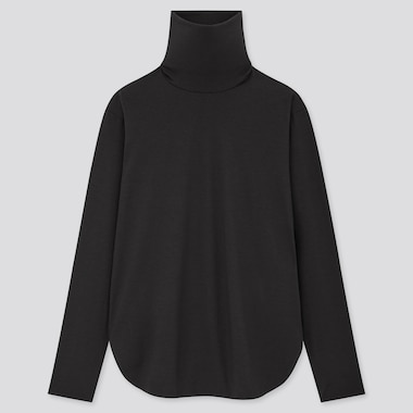 Women Airism Seamless Turtleneck Long T-Shirt (Online Exclusive), Black, Medium
