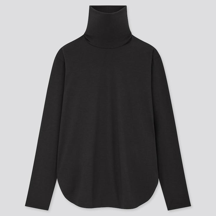 Women Airism Seamless Turtleneck Long T-Shirt (Online Exclusive), Black, Large