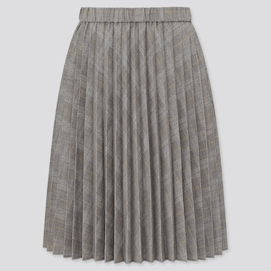 Girls Pleated Checked Skirt, Gray, Medium