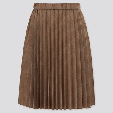Girls Pleated Checked Skirt, Brown, Medium